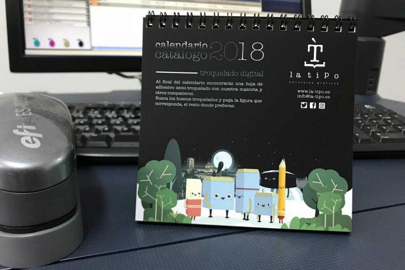 El calendario 2018 de la tipo